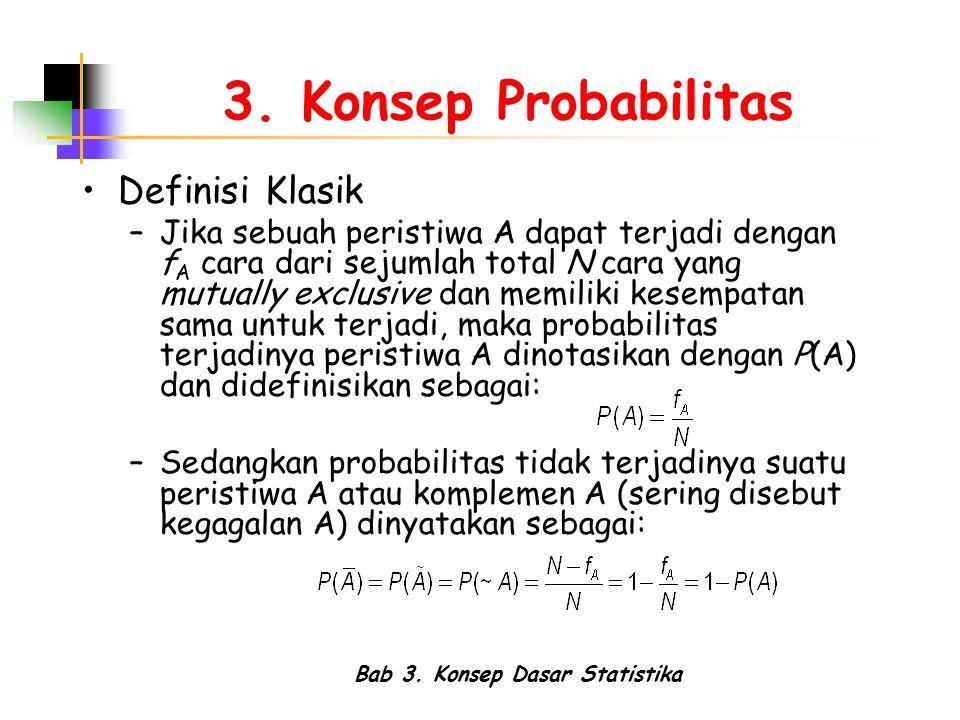 Bab 3. Konsep Dasar Statistika 3. Konsep Probabilitas Definisi Klasik –Jika sebuah peristiwa A dapat terjadi dengan f A cara dari sejumlah total N car