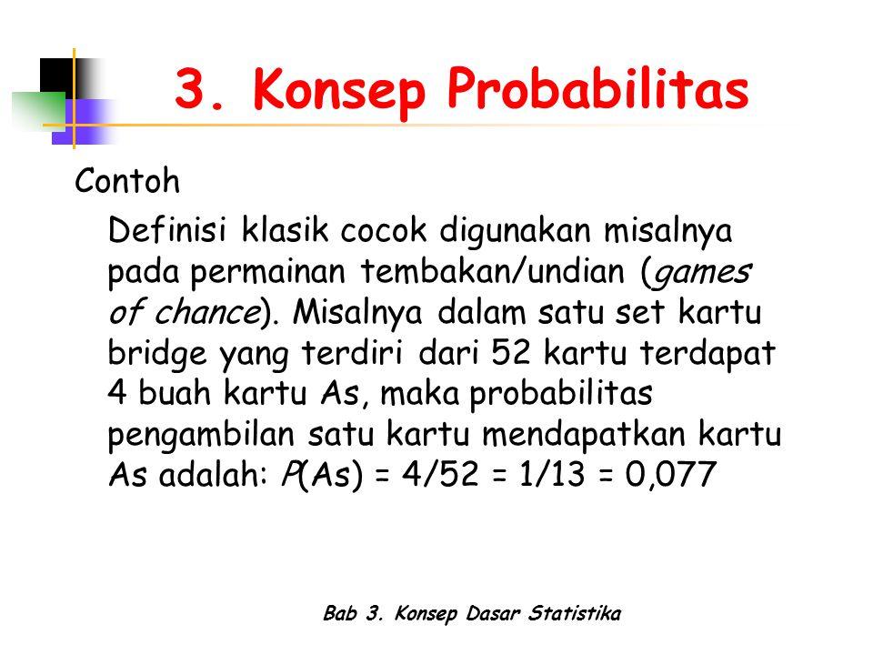 Bab 3. Konsep Dasar Statistika 3. Konsep Probabilitas Contoh Definisi klasik cocok digunakan misalnya pada permainan tembakan/undian (games of chance)