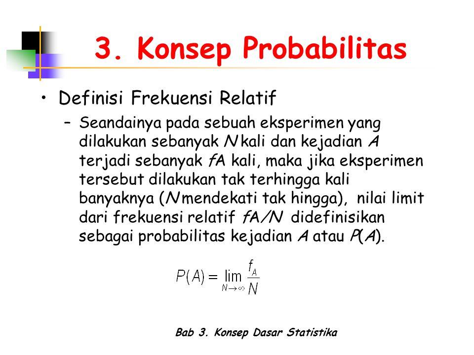Bab 3. Konsep Dasar Statistika 3. Konsep Probabilitas Definisi Frekuensi Relatif –Seandainya pada sebuah eksperimen yang dilakukan sebanyak N kali dan