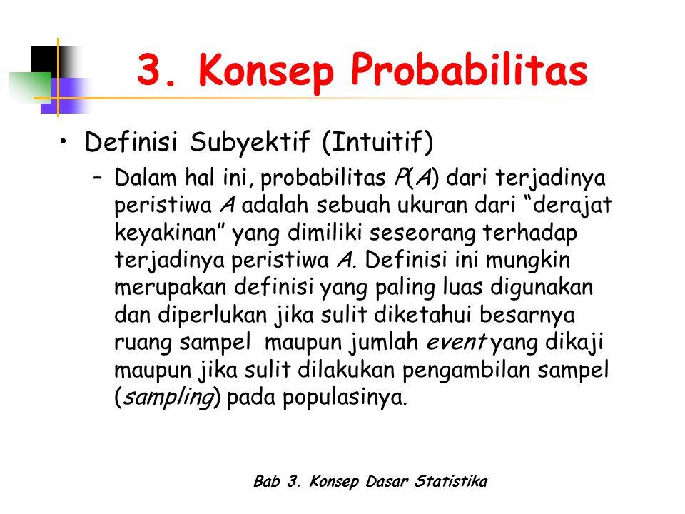 Bab 3. Konsep Dasar Statistika 3. Konsep Probabilitas Definisi Subyektif (Intuitif) –Dalam hal ini, probabilitas P(A) dari terjadinya peristiwa A adal