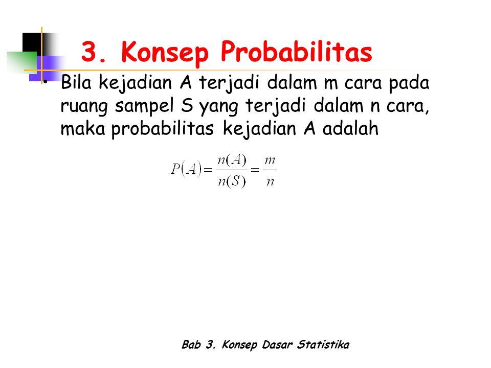 Bab 3. Konsep Dasar Statistika 3. Konsep Probabilitas Bila kejadian A terjadi dalam m cara pada ruang sampel S yang terjadi dalam n cara, maka probabi