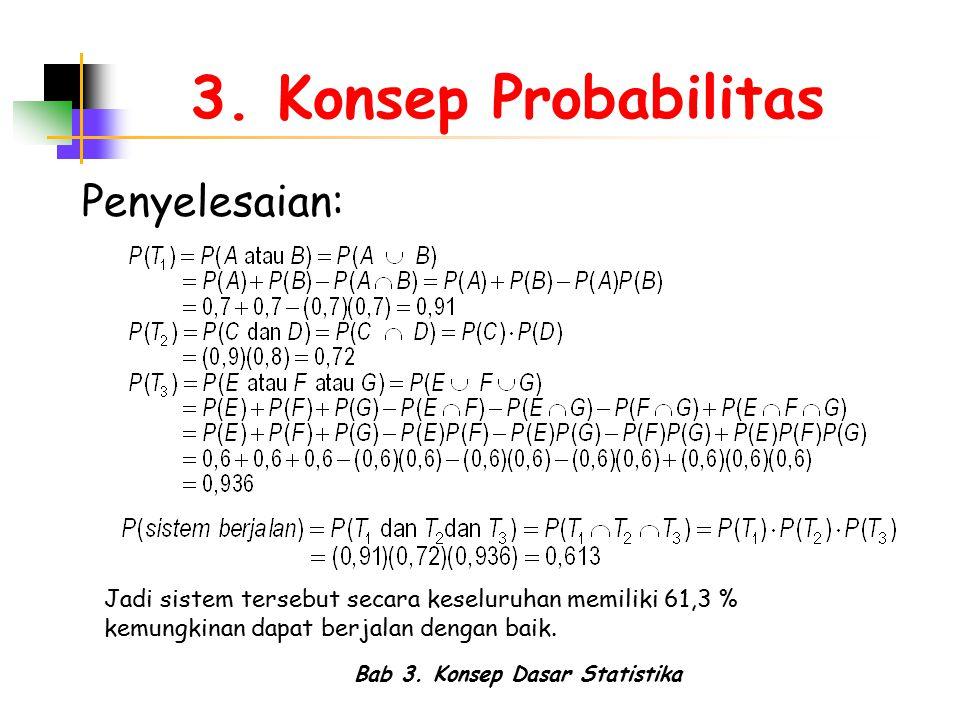 Bab 3. Konsep Dasar Statistika 3. Konsep Probabilitas Penyelesaian: Jadi sistem tersebut secara keseluruhan memiliki 61,3 % kemungkinan dapat berjalan