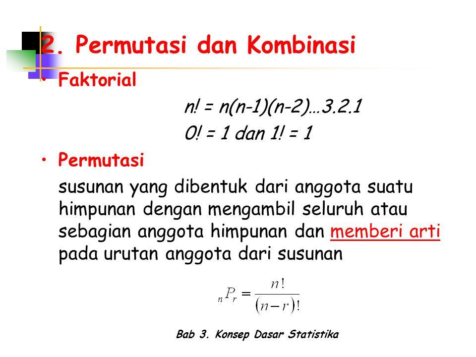 Bab 3. Konsep Dasar Statistika 2. Permutasi dan Kombinasi Faktorial n! = n(n-1)(n-2)…3.2.1 0! = 1 dan 1! = 1 Permutasi susunan yang dibentuk dari angg