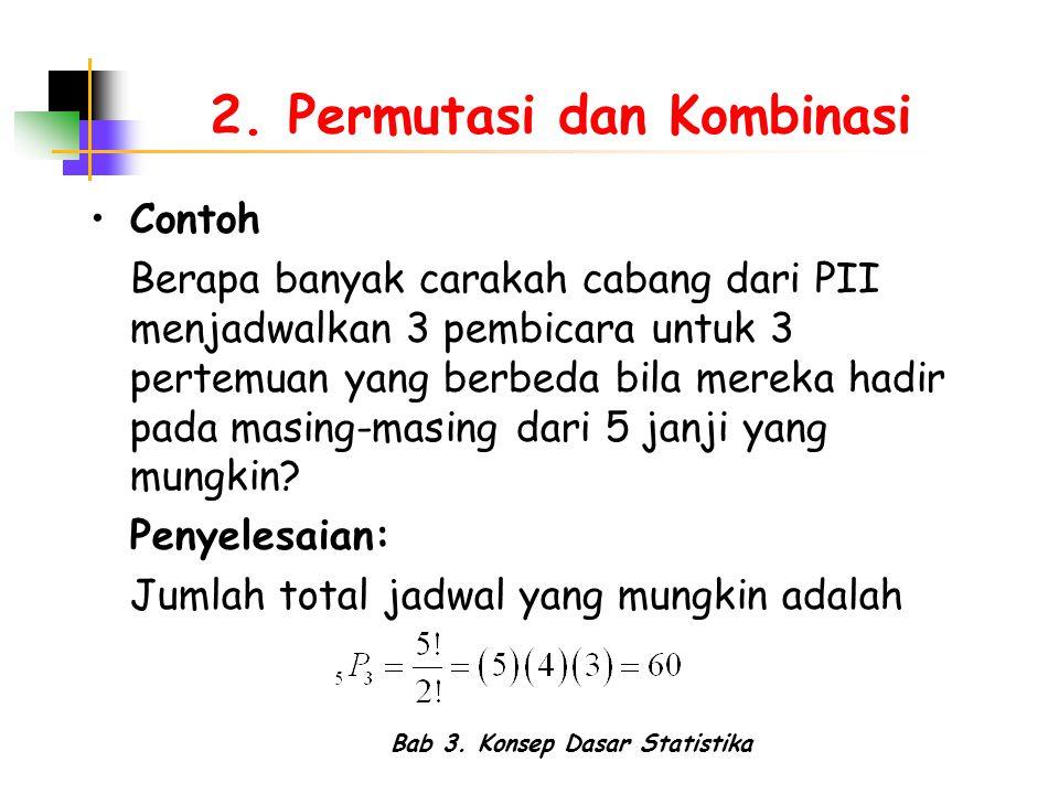 Bab 3. Konsep Dasar Statistika 2. Permutasi dan Kombinasi Contoh Berapa banyak carakah cabang dari PII menjadwalkan 3 pembicara untuk 3 pertemuan yang