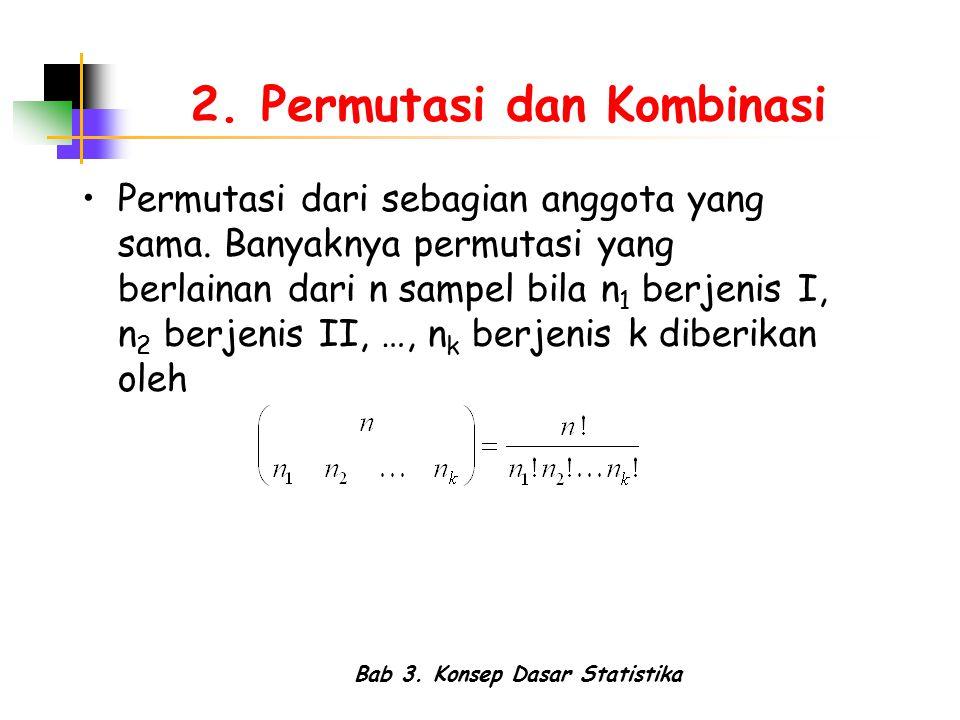 Bab 3. Konsep Dasar Statistika 2. Permutasi dan Kombinasi Permutasi dari sebagian anggota yang sama. Banyaknya permutasi yang berlainan dari n sampel