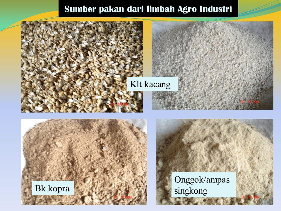 Sumber pakan dari limbah Agro Industri Klt kacang Bk kopra Onggok/ampas singkong