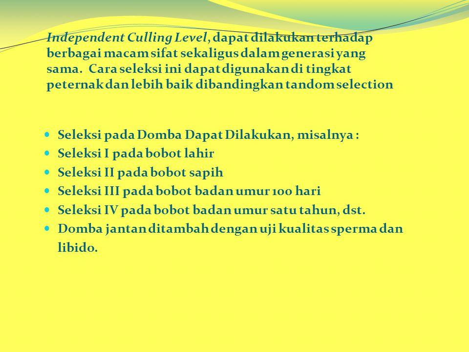 Independent Culling Level, dapat dilakukan terhadap berbagai macam sifat sekaligus dalam generasi yang sama.