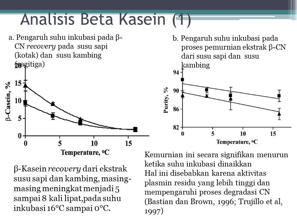 Analisis Beta Kasein (1) Kemurnian ini secara signifikan menurun ketika suhu inkubasi dinaikkan Hal ini disebabkan karena aktivitas plasmin residu yan