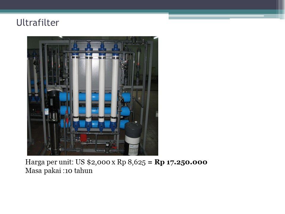 Ultrafilter Harga per unit: US $2,000 x Rp 8,625 = Rp 17.250.000 Masa pakai :10 tahun