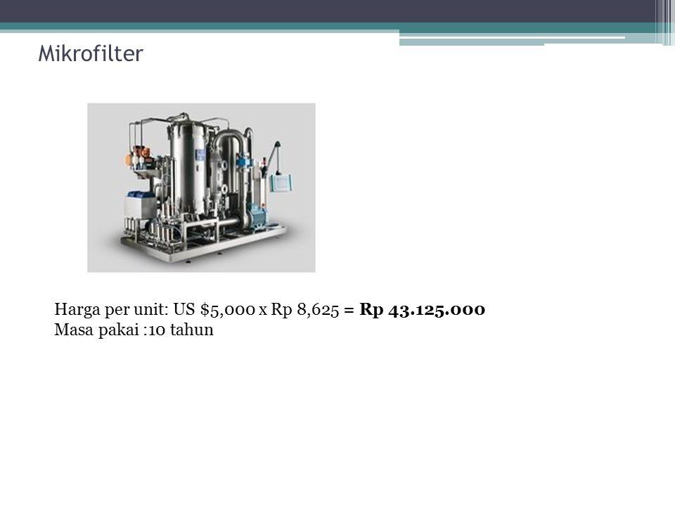 Mikrofilter Harga per unit: US $5,000 x Rp 8,625 = Rp 43.125.000 Masa pakai :10 tahun