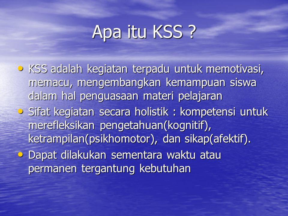 Apa itu KSS ? KSS adalah kegiatan terpadu untuk memotivasi, memacu, mengembangkan kemampuan siswa dalam hal penguasaan materi pelajaran KSS adalah keg
