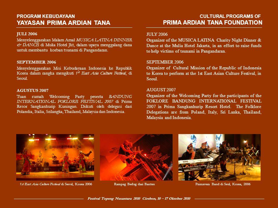 Festival Topeng Nusantara 2010 Cirebon, 10 – 17 Oktober 2010 PROGRAM KEBUDAYAAN YAYASAN PRIMA ARDIAN TANA OKTOBER 2007 Menyelenggarakan INDONESIA SALSA FESTIVAL 2007 di Mulia Hotel Senayan.