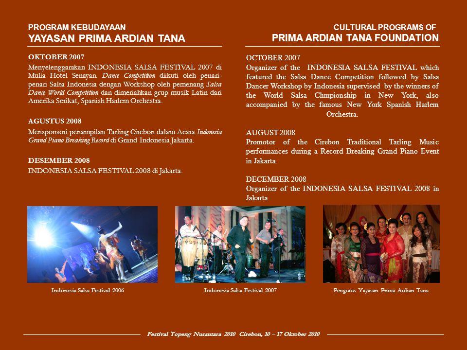 Festival Topeng Nusantara 2010 Cirebon, 10 – 17 Oktober 2010 Festival Topeng Nusantara 2010 yang akan diselenggarakan pada minggu kedua Oktober 2010 dimaksudkan sebagai peristiwa budaya yang bertujuan mengangkat seni topeng tradisi ke pentas Nasional dengan pusat kegiatan di kota Cirebon.