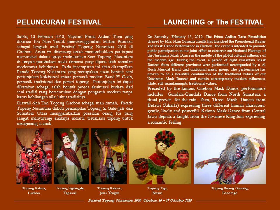 Festival Topeng Nusantara 2010 Cirebon, 10 – 17 Oktober 2010 Topeng Tiga dari DKI Jakarta merupakan salah satu kesenian Betawi yang menggambarkan berbagai karakter manusia, ada yang berwatak lembut, centil dan berkarakter gagah.