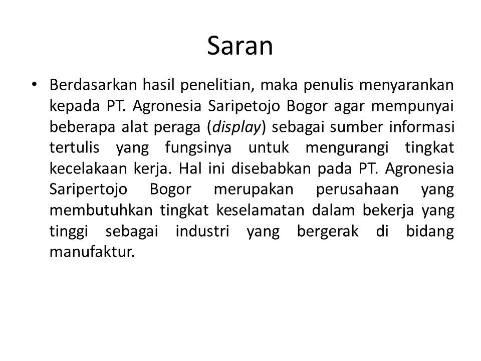 Saran Berdasarkan hasil penelitian, maka penulis menyarankan kepada PT. Agronesia Saripetojo Bogor agar mempunyai beberapa alat peraga (display) sebag