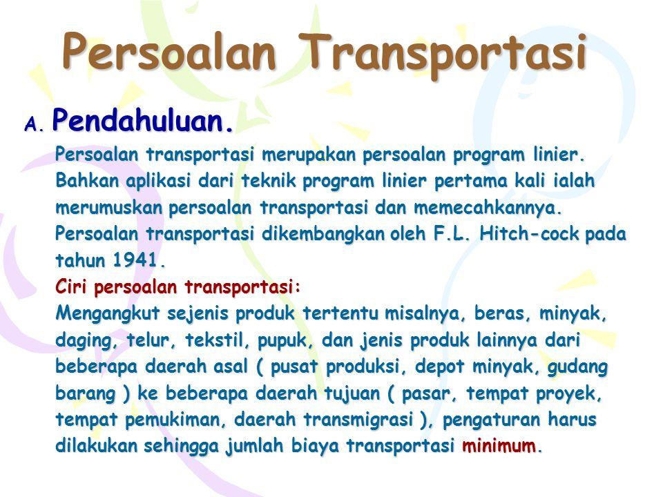 Persoalan Transportasi A.Pendahuluan. Persoalan transportasi merupakan persoalan program linier.