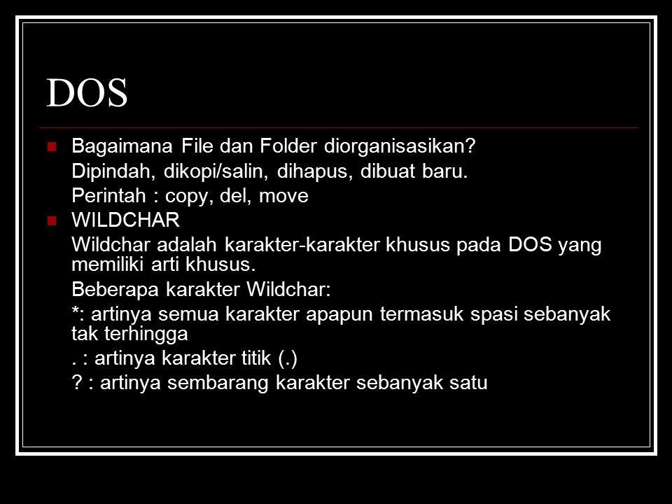 DOS Bagaimana File dan Folder diorganisasikan.Dipindah, dikopi/salin, dihapus, dibuat baru.