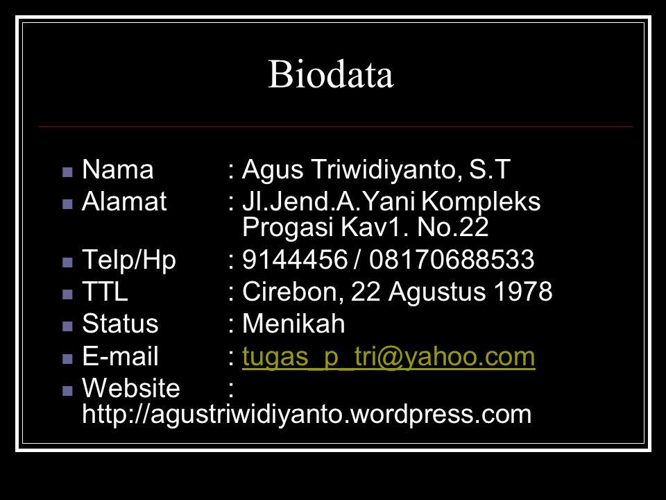 Biodata Nama : Agus Triwidiyanto, S.T Alamat : Jl.Jend.A.Yani Kompleks Progasi Kav1.