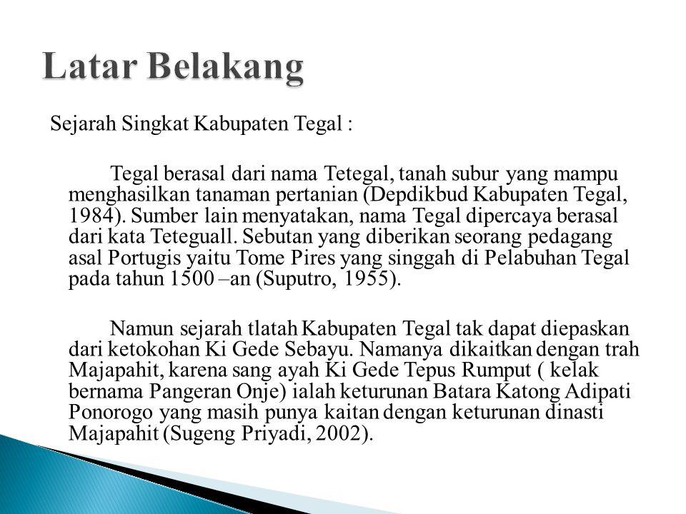 Sejarah Singkat Kabupaten Tegal : Tegal berasal dari nama Tetegal, tanah subur yang mampu menghasilkan tanaman pertanian (Depdikbud Kabupaten Tegal, 1984).