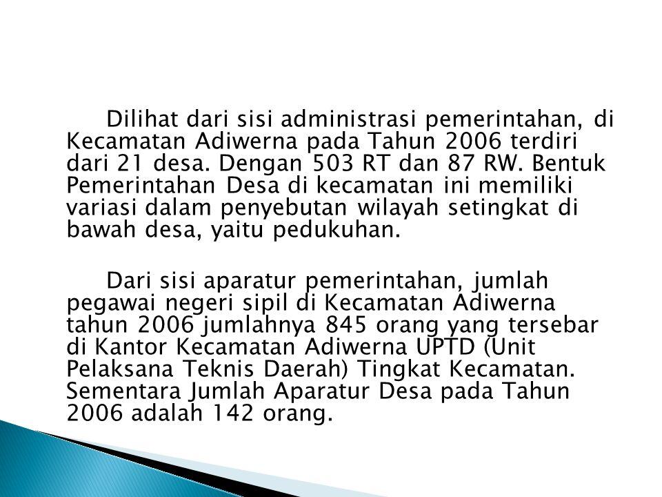Dilihat dari sisi administrasi pemerintahan, di Kecamatan Adiwerna pada Tahun 2006 terdiri dari 21 desa.
