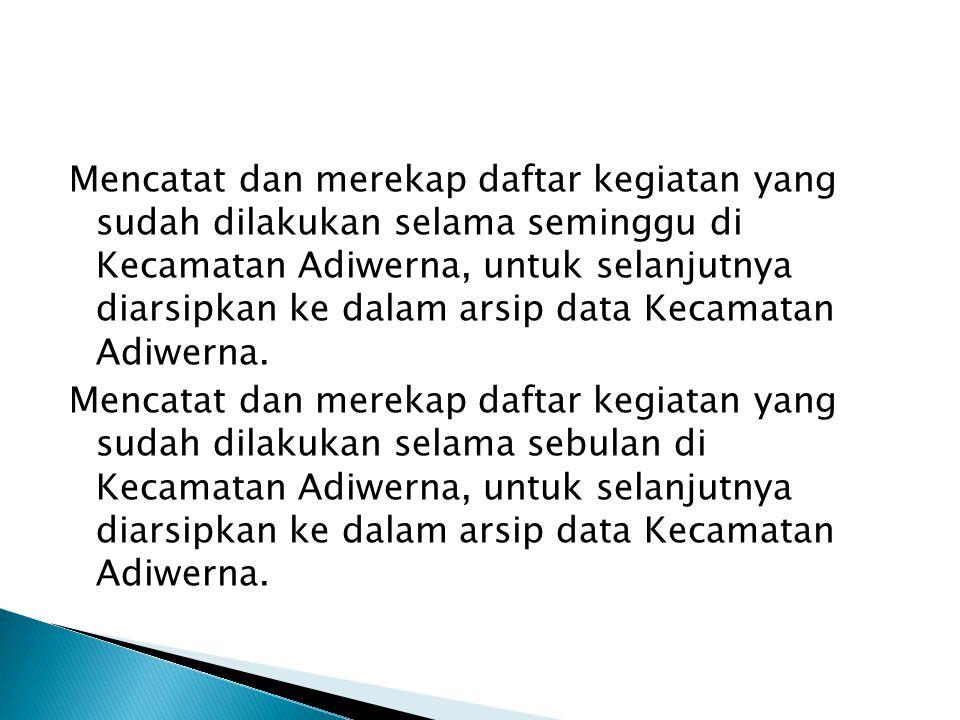 Mencatat dan merekap daftar kegiatan yang sudah dilakukan selama seminggu di Kecamatan Adiwerna, untuk selanjutnya diarsipkan ke dalam arsip data Kecamatan Adiwerna.