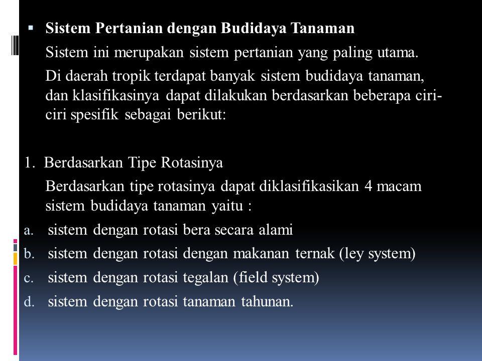  Sistem Pertanian dengan Budidaya Tanaman Sistem ini merupakan sistem pertanian yang paling utama. Di daerah tropik terdapat banyak sistem budidaya t