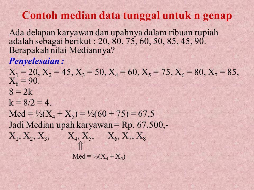 Untuk n genap : kalau k adalah suatu bilangan konstan dan n genap, maka selalu dapat ditulis n = 2k atau k = n/2. Misalnya: n = 8  8 = 2k k = 8/2 = 4