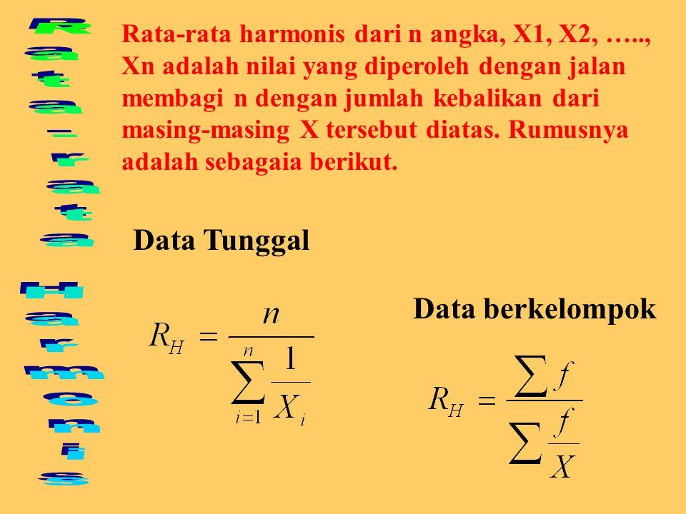 Cari rata-rata ukur dari data dibawah ini: X 1 = 2, X 2 = 4, X 3 = 8. Penyelesaian : Contoh hitungan Rata-rata Ukur Atau dapat dihitung dengan :
