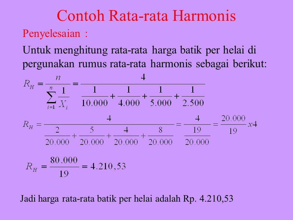 Contoh Rata-rata Harmonis Seorang pedagang batik di Tegal memperoleh hasil penjualan sebesr Rp. 100.000 peer minggu dengan rincian, sebagai berikut :