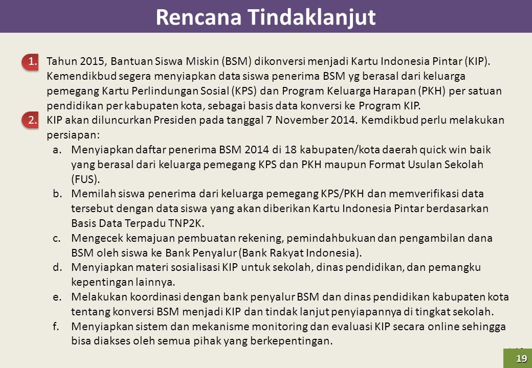 | 19 Rencana Tindaklanjut 1.Tahun 2015, Bantuan Siswa Miskin (BSM) dikonversi menjadi Kartu Indonesia Pintar (KIP). Kemendikbud segera menyiapkan data