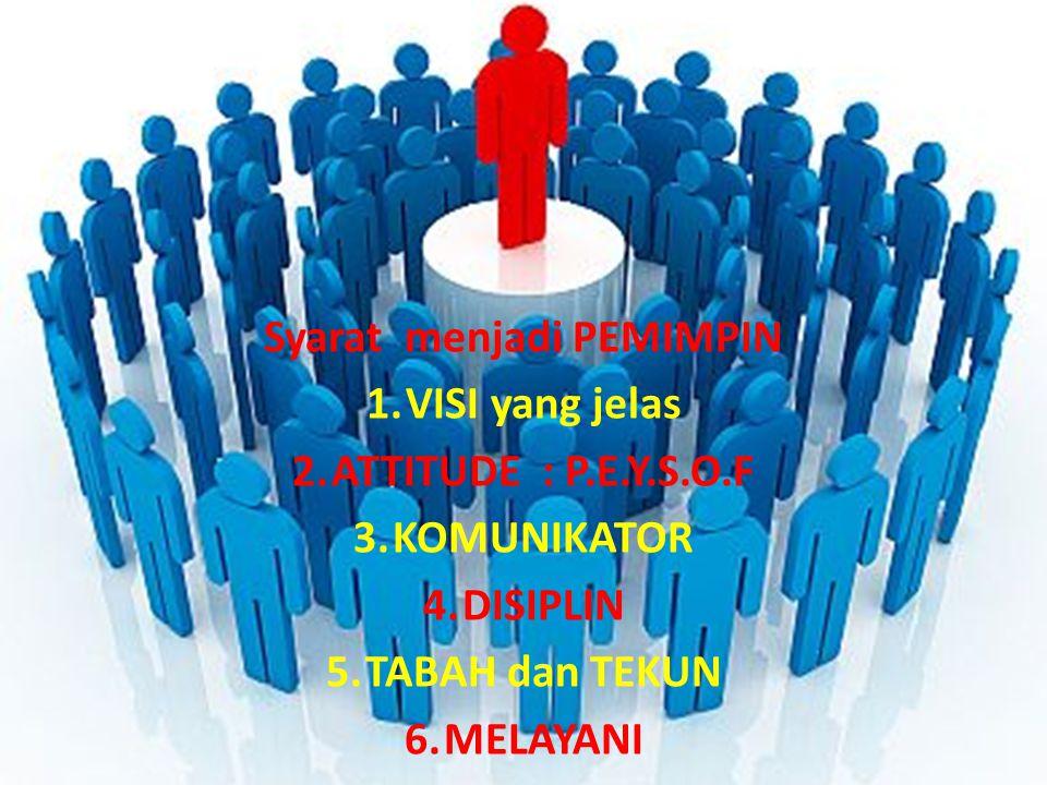 Syarat menjadi PEMIMPIN 1.VISI yang jelas 2.ATTITUDE : P.E.Y.S.O.F 3.KOMUNIKATOR 4.DISIPLIN 5.TABAH dan TEKUN 6.MELAYANI