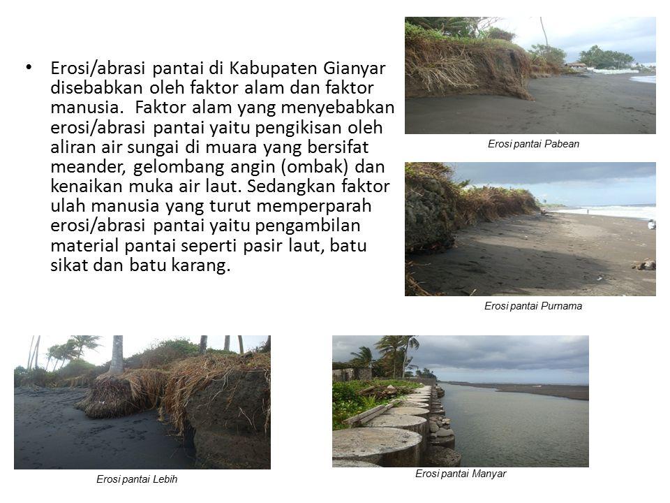 Erosi/abrasi pantai di Kabupaten Gianyar disebabkan oleh faktor alam dan faktor manusia. Faktor alam yang menyebabkan erosi/abrasi pantai yaitu pengik