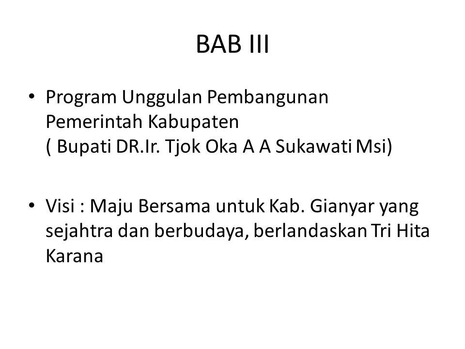 BAB III Program Unggulan Pembangunan Pemerintah Kabupaten ( Bupati DR.Ir. Tjok Oka A A Sukawati Msi) Visi : Maju Bersama untuk Kab. Gianyar yang sejah
