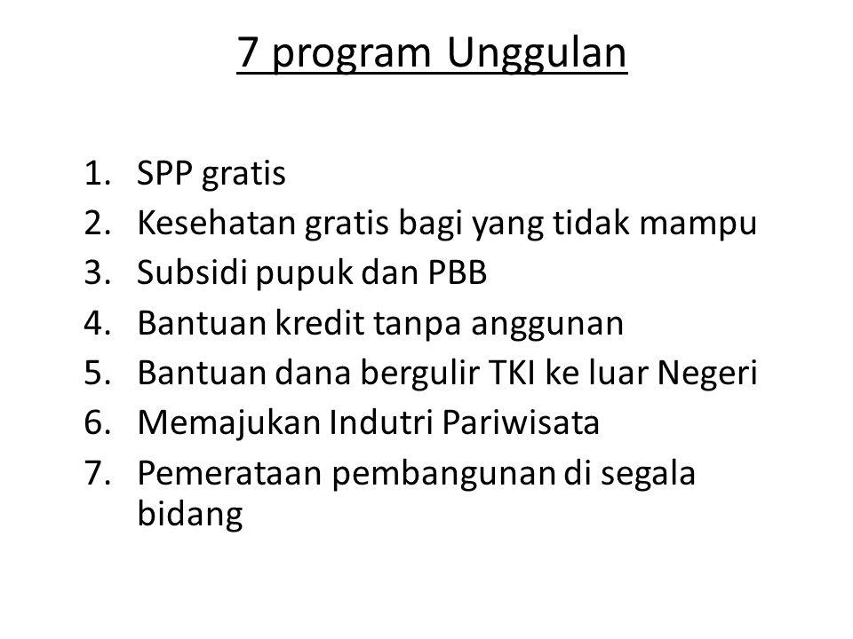 7 program Unggulan 1.SPP gratis 2.Kesehatan gratis bagi yang tidak mampu 3.Subsidi pupuk dan PBB 4.Bantuan kredit tanpa anggunan 5.Bantuan dana bergul