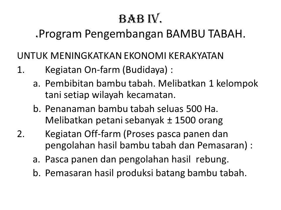 BAB IV.. Program Pengembangan BAMBU TABAH. UNTUK MENINGKATKAN EKONOMI KERAKYATAN 1.Kegiatan On-farm (Budidaya) : a.Pembibitan bambu tabah. Melibatkan