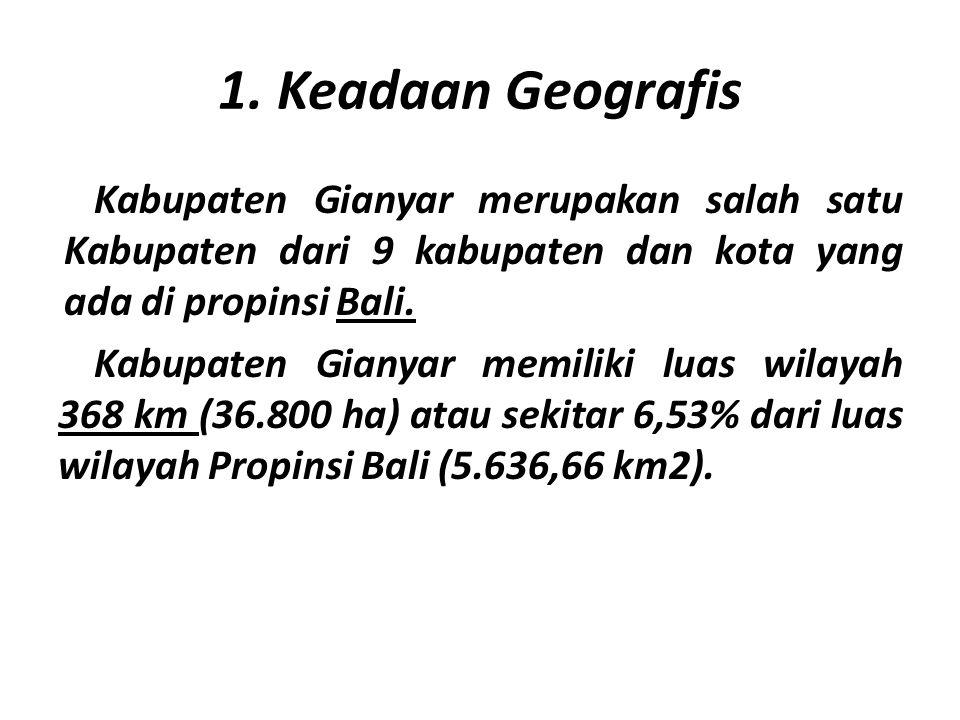 1. Keadaan Geografis Kabupaten Gianyar merupakan salah satu Kabupaten dari 9 kabupaten dan kota yang ada di propinsi Bali. Kabupaten Gianyar memiliki
