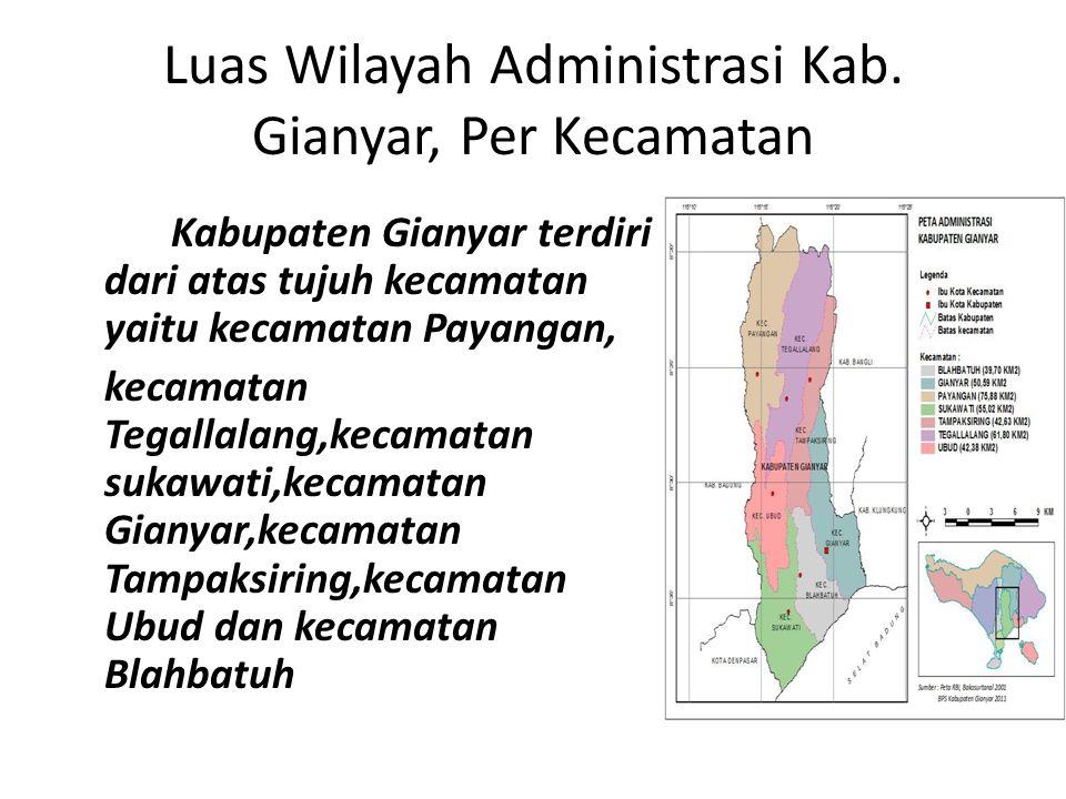 Luas Wilayah Administrasi Kab. Gianyar, Per Kecamatan Kabupaten Gianyar terdiri dari atas tujuh kecamatan yaitu kecamatan Payangan, kecamatan Tegallal