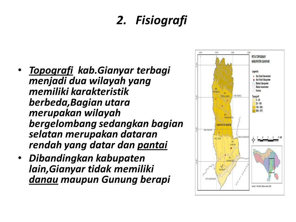 2. Fisiografi Topografi kab.Gianyar terbagi menjadi dua wilayah yang memiliki karakteristik berbeda,Bagian utara merupakan wilayah bergelombang sedang