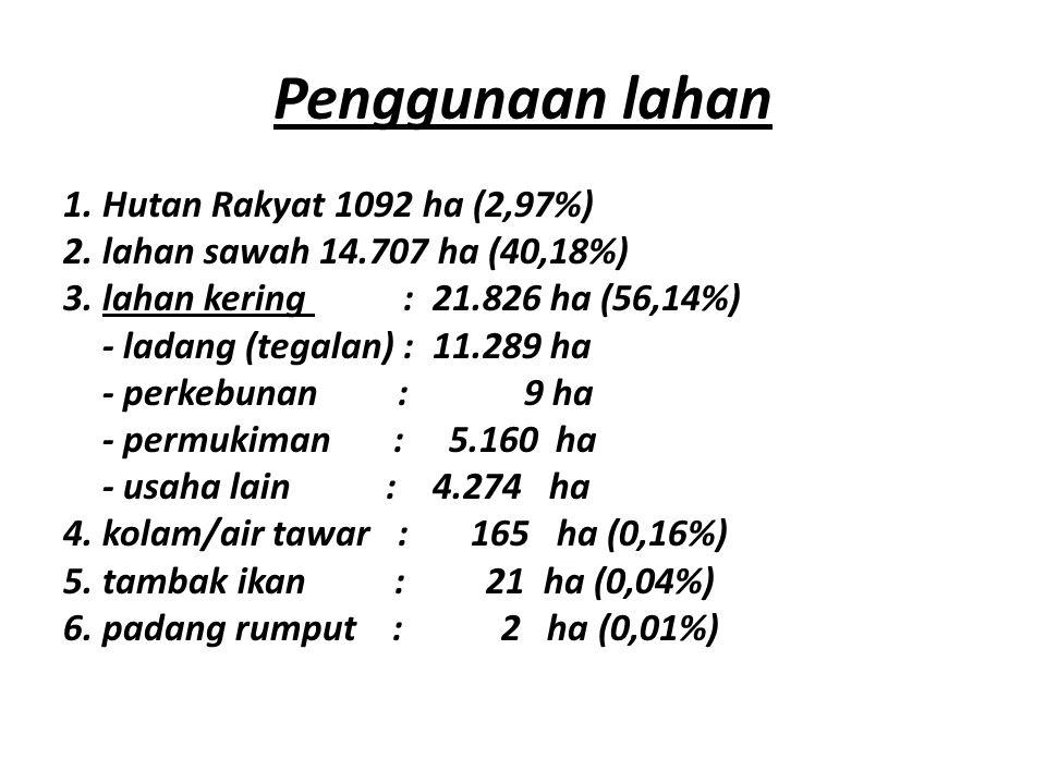 Penggunaan lahan 1.Hutan Rakyat 1092 ha (2,97%) 2.lahan sawah 14.707 ha (40,18%) 3.lahan kering : 21.826 ha (56,14%) - ladang (tegalan) : 11.289 ha - perkebunan : 9 ha - permukiman : 5.160 ha - usaha lain : 4.274 ha 4.kolam/air tawar : 165 ha (0,16%) 5.tambak ikan : 21 ha (0,04%) 6.padang rumput : 2 ha (0,01%)