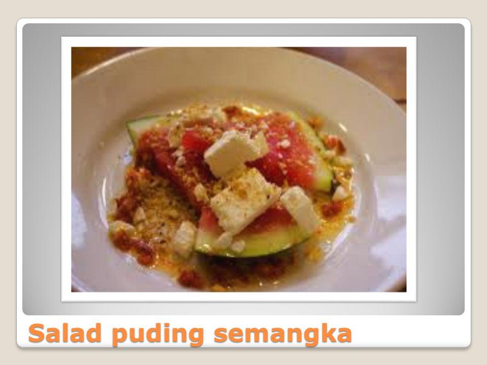 BAHAN-BAHAN PUDING Susu putih Gula pasir Agar-agar Pewarna makan (merah dan hijau) Selasih SALAD Melon Apel Strawberry Nanas Pear Sirup