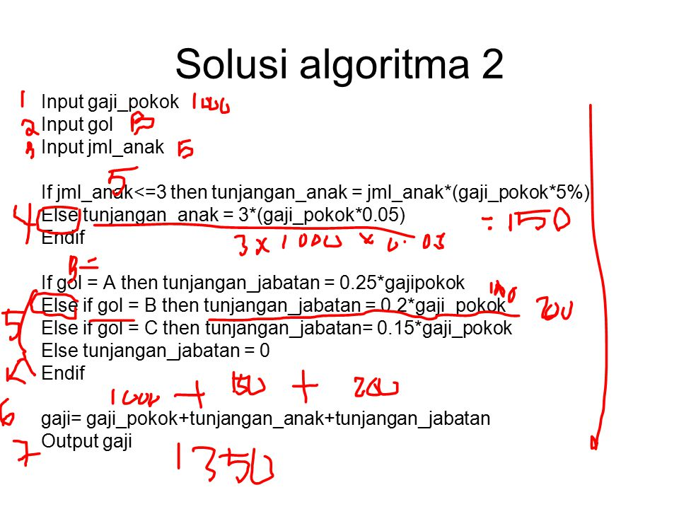 Solusi algoritma 2 Input gaji_pokok Input gol Input jml_anak If jml_anak<=3 then tunjangan_anak = jml_anak*(gaji_pokok*5%) Else tunjangan_anak = 3*(ga