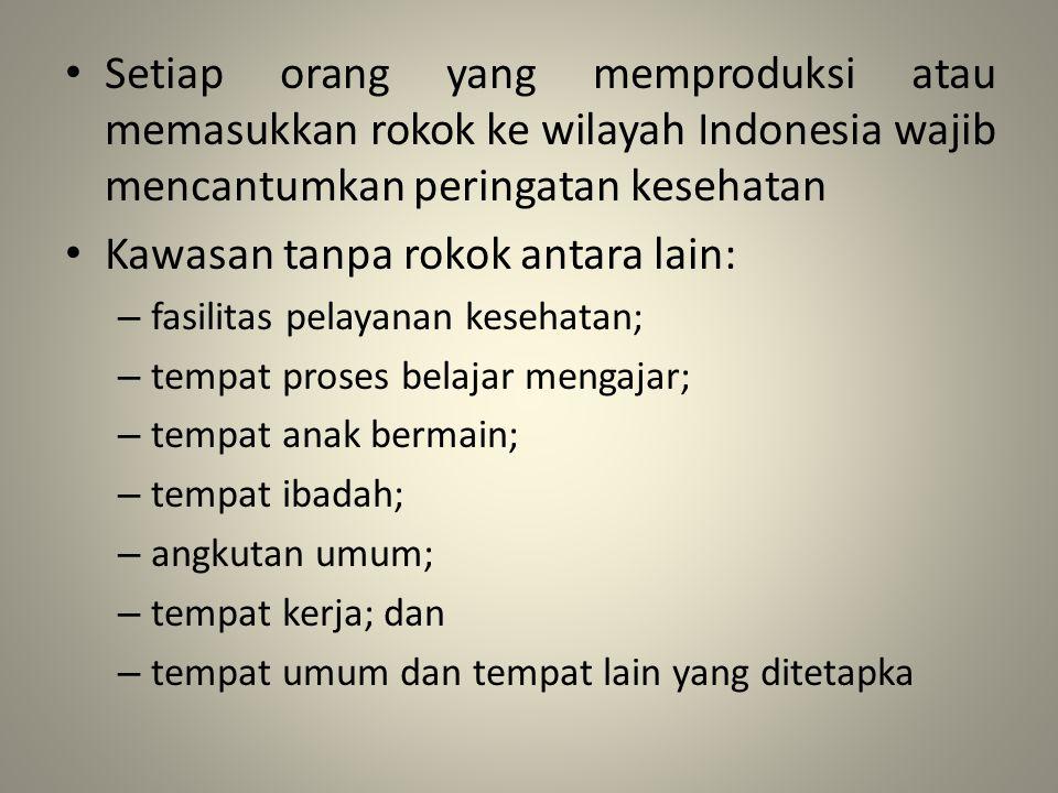Setiap orang yang memproduksi atau memasukkan rokok ke wilayah Indonesia wajib mencantumkan peringatan kesehatan Kawasan tanpa rokok antara lain: – fa