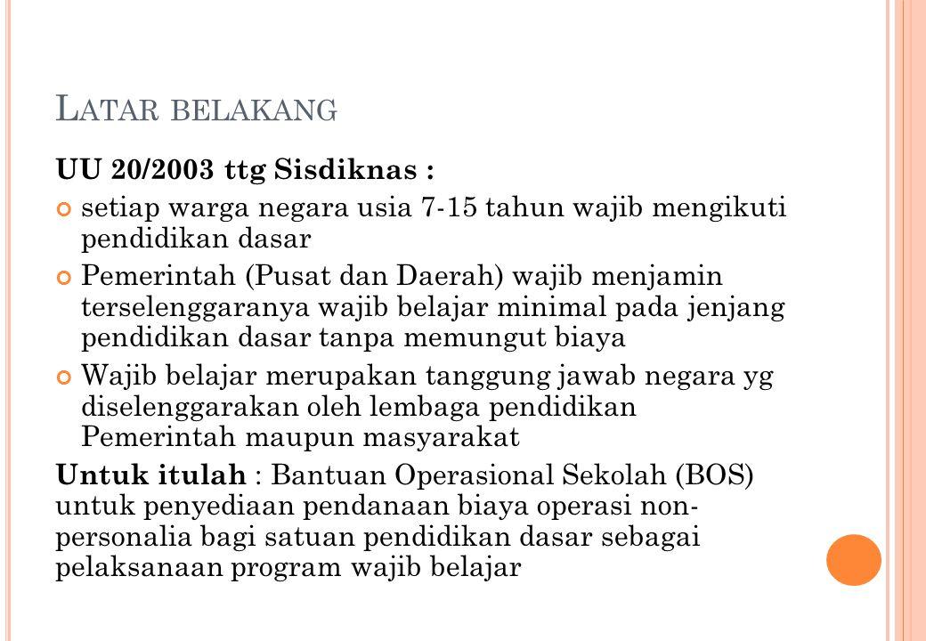 L ATAR BELAKANG UU 20/2003 ttg Sisdiknas : setiap warga negara usia 7-15 tahun wajib mengikuti pendidikan dasar Pemerintah (Pusat dan Daerah) wajib me