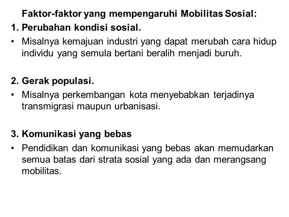 Faktor-faktor yang mempengaruhi Mobilitas Sosial: 1.Perubahan kondisi sosial. Misalnya kemajuan industri yang dapat merubah cara hidup individu yang s