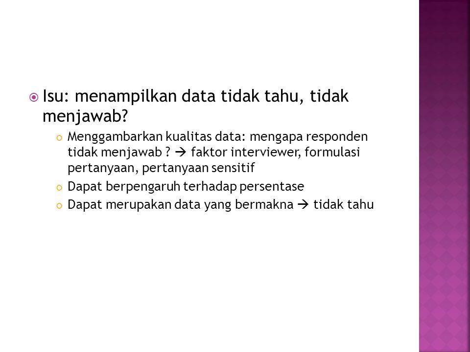  Isu: menampilkan data tidak tahu, tidak menjawab? Menggambarkan kualitas data: mengapa responden tidak menjawab ?  faktor interviewer, formulasi pe
