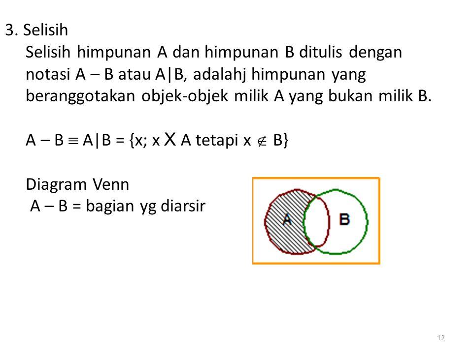 3. Selisih Selisih himpunan A dan himpunan B ditulis dengan notasi A – B atau A|B, adalahj himpunan yang beranggotakan objek-objek milik A yang bukan