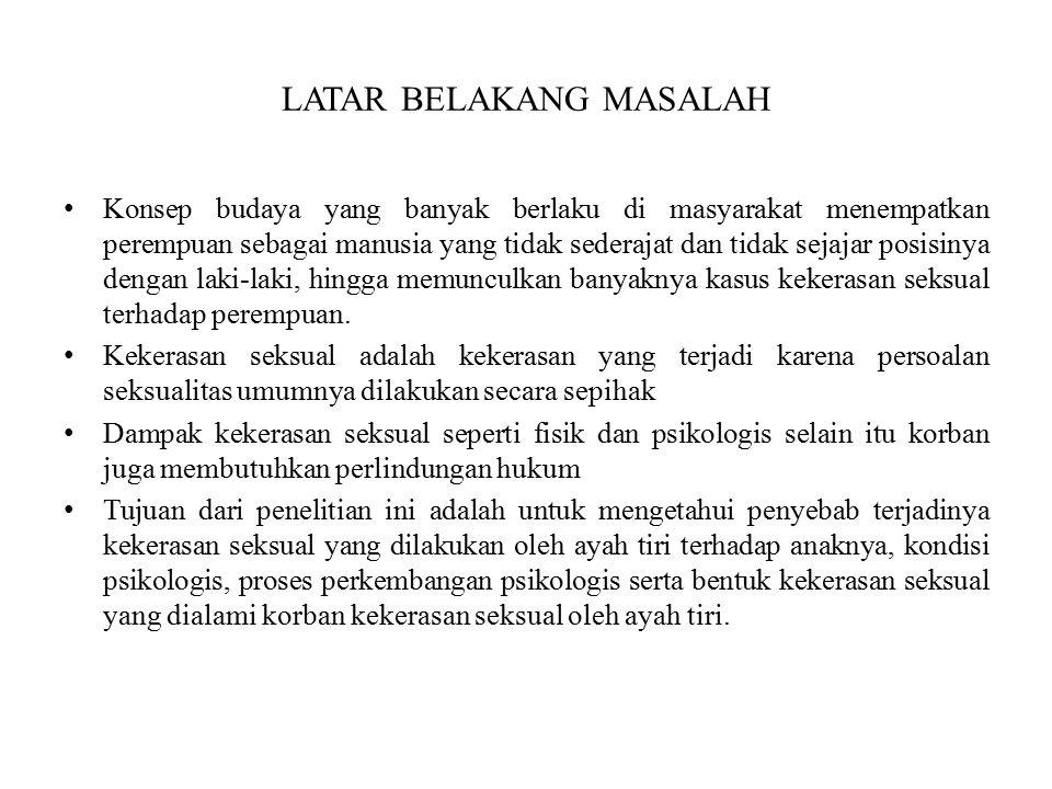 TINJAUAN PUSTAKA Kekerasan Seksual Kekerasan seksual adalah praktik hubungan seksual yang dilakukan dengan cara-cara kekerasan, diluar ikatan perkawinan dan bertentangan dengan ajaran agama.