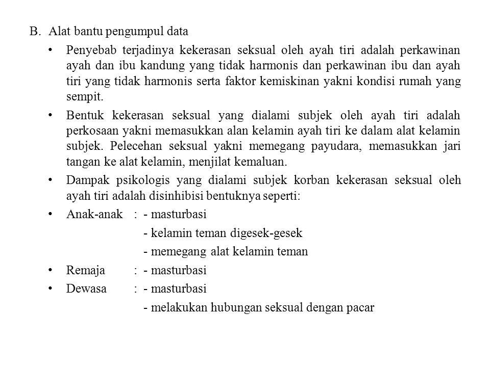 B.Alat bantu pengumpul data Penyebab terjadinya kekerasan seksual oleh ayah tiri adalah perkawinan ayah dan ibu kandung yang tidak harmonis dan perkaw
