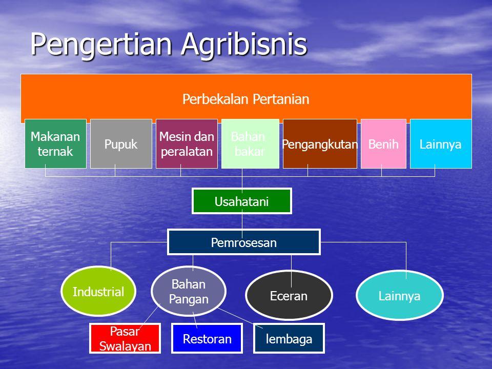 Pengertian Agribisnis Perbekalan Pertanian Makanan ternak Usahatani Pupuk Mesin dan peralatan Bahan bakar PengangkutanBenihLainnya Pemrosesan Industri