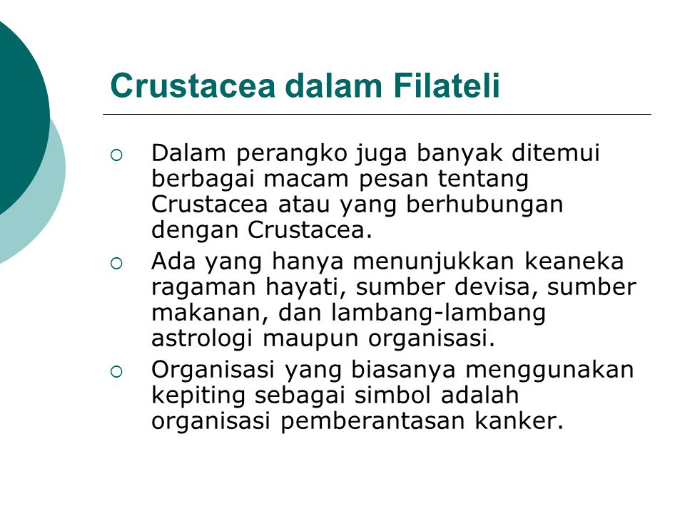 Crustacea dalam Filateli  Dalam perangko juga banyak ditemui berbagai macam pesan tentang Crustacea atau yang berhubungan dengan Crustacea.  Ada yan